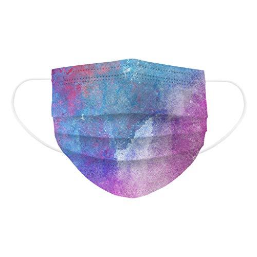 Mundschutz kann nur einmal verwendet Werden, atmungsaktiver Druck Mundbandana, Frauen & Männer, Bandana Gesicht Mundbandana Sommerschule Regenbogendruck (100 PC,Hot Purple3-100)