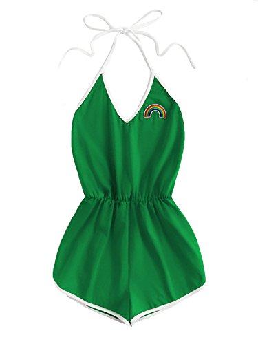 SweatyRocks Women's Halter Sleeveless Short Jumpsuit Rompers Backless Playsuit Green M