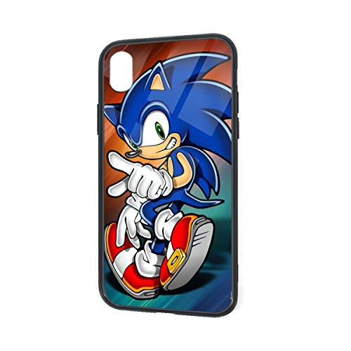 Tempered Glass Back iPhone XR Cases, Soft TPU 6.1 Inch Cute Bumper, SandProof Anti-Scratch Full Protective Case Cover for iPhone XR, Super Sonic The Hedgehog