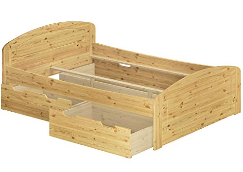Erst-Holz® Funktionsbett Kiefer massiv in Überlänge 140x220 Holzbett mit wählbarem Zubehör V-60.50-14-220, Ausstattung:ohne Zubehör