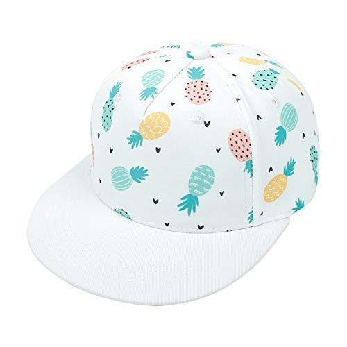 fasloyu Basecap Baby Jungen - Cartoon Druck Schildmütze Sonnenhut für Kinder Kappe Trucker Hut Sonnenhut für Jungen Mädchen 2 bis 8 Jahre (Weiß,S)