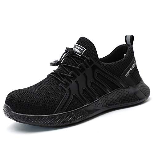 AONEGOLD Sicherheitsschuhe Herren Damen S3 Arbeitsschuhe Leicht Atmungsaktiv Sportlich Schutzschuhe rutschfeste Stahlkappe Schuhe(Schwarz,41 EU)
