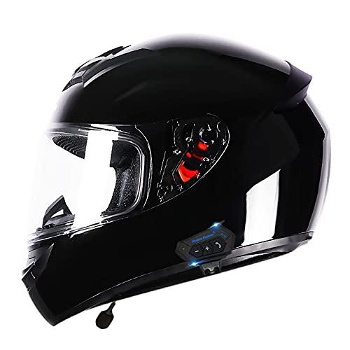 Cascos de Motocicleta Integrados con Bluetooth, modulares de Cara Completa con Viseras, Cascos de Motocross para certificación Unisex Dot/ECE P,XXL