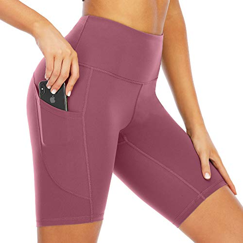 Scicent High Waist Yoga Shorts Biker Shorts with Pockets Womens Plus Size Leggings Sports Yoga Short Pants Leggings Merlot Red XXL