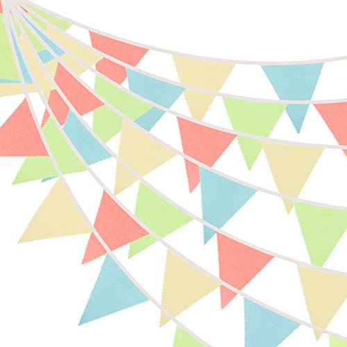 Whaline 42 Pieces Bunting Banner 39.5ft Cotton Triangle Flags Garlands Colorful Fabric Pennant Flags Hanging Decoration for Indoor Outdoor Garden