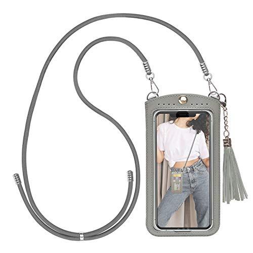 takyu Handy Umhängetasche, kleine Damen Crossbody Handytasche zum Umhängen für Smartphones (L,Grau)