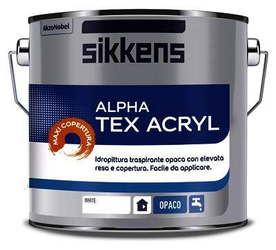 SIKKENS ALPHA TEX ACRYL NEW BIANCO 5 LITRI NUOVA FORMULA MAXI COPERTURA