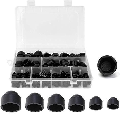 Schutzkappen für Schrauben,145 Sechskantmuttern und Bolzenabdeckungen, Schwarz, aus Kunststoff, M4 M5 M6 M8 M10 M12 Set,Ziermutterkappe, Schutzkappe