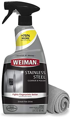 Weiman Stainless Steel Cleaner and Polish – 22 Ounces (Microfiber Cloth) – Appliance Surfaces Leave Behind a Brilliant Shine