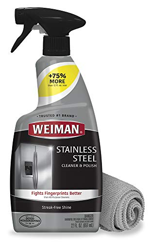 Weiman Stainless Steel Cleaner and Polish  22 Ounces Microfiber Cloth  Appliance Surfaces Leave Behind a Brilliant Shine