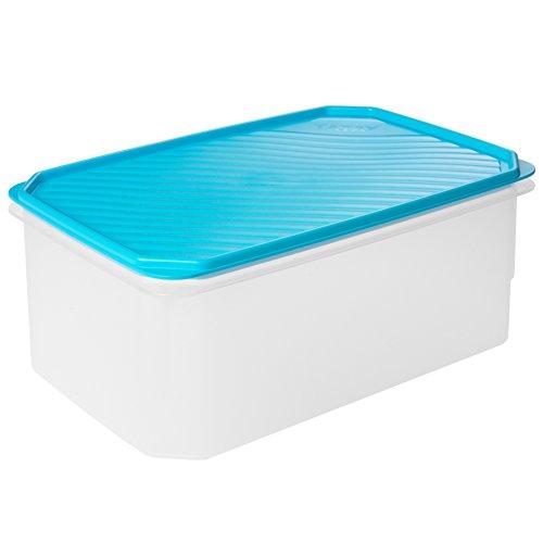 TATAY - Contenedor de alimentos rectangular de gran capacidad con tapa flexible azul, libre de BpA, 4,7 L