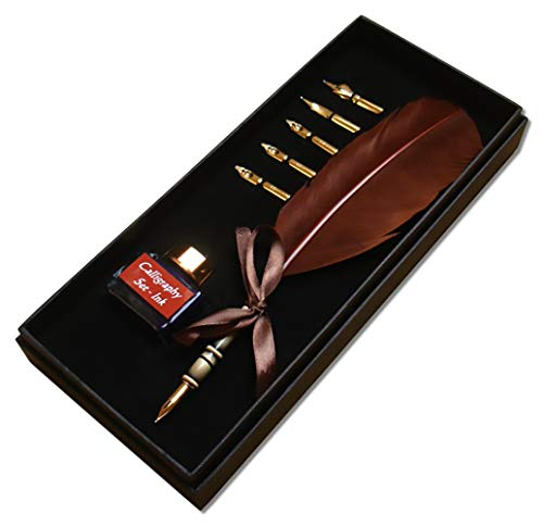 KenTaur Calligraphy Quill Pen Set (CS-0205) - Dip Pen with Brown Turkey Feather, 6 Stainless Steel Nib, and European Ink. Great for Beginner/Enthusiast
