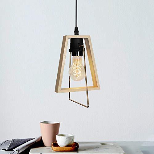 GBLY Pendelleuchte Vintage Holz Höhenverstellbar Hängeleuchte Rustikal 1 Flammig E27 Pendellampe Landhaus Dekorative Hängelampe für Wohnzimmer Schlafzimmer Esszimmer Küche (ohne Birne)
