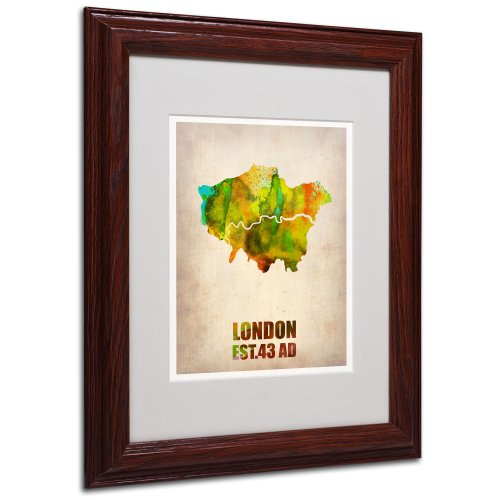 London Watercolor Map by Naxart Matted Framed Art, 11 by 14-Inch, Wood Frame