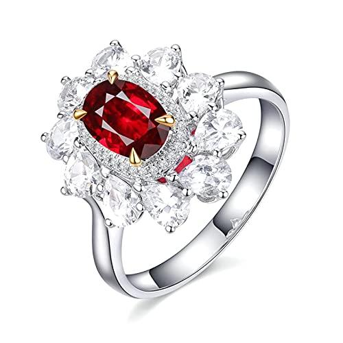 Amody Anillo Oro Blanco 18 Kilates, Anillo para Compromiso 0.99ct Paloma Rojo Sangre Rubí con Diamante Tamaño 16