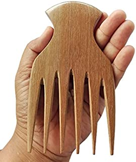 Plai Na natural wood comb big wide tooth wooden afro pick handmade for thick wet and curly hair for men and women
