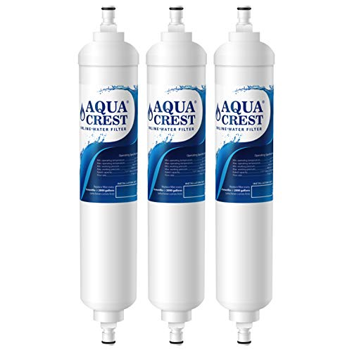 AQUACREST GXRTQR Inline Water Filter, NSF Certified, Carbon Block Media Ensures 99% Chlorine Reduction, Replacement for GE GXRTQR, GXRTQ System, Also Reduces Heavy Metals and More (Pack of 3)
