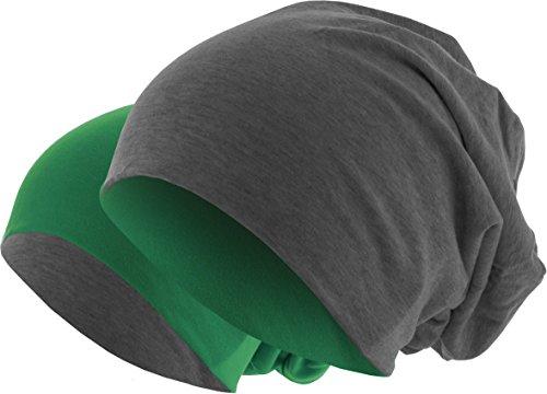 MSTRDS Unisex Strickmützen Jersey Beanie Reversible, Mehrfarbig (Ht.Charcoal/Kelly...