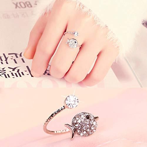 DLIAAN Ringen Vrouwen Open Ringen Micro-Inlaid Zirkoon Mode Verstelbare Leuke Vis Zilveren Ring Index Vinger Ringen Ornamenten Geschenken Voor Vriendinnen