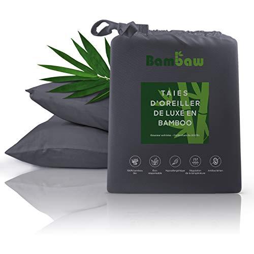 Bambaw Housse Oreiller Bambou   2 taies d'Oreiller   Taie Oreiller Bio hypoallergénique   Taies Oreiller Matière Respirante   Anthracite - 65x65