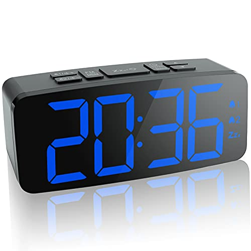 """HAPTIME Digital Alarm Clock Radio: 6.2"""" Large LED Display with 4 Brightness Dimmer, Dual Alarms, Snooze, 12/24H, FM Radio with Sleep Timer, Blue Digits Clock for Home Bedside Bedroom"""