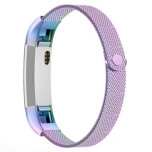 POY Compatible for Fitbit Alta Bands, Stainless Steel Metal Replacement Bracelet Strap with Unique Magnet Lock for Fitbit Alta and Fitbit Alta HR Colorful Large