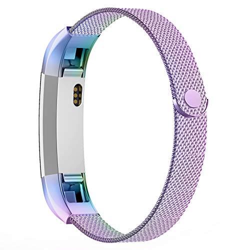 Adepoy für Fitbit Alta HR Armband und Fitbit Alta Armband, Metall Edelstahl Ersatzarmband Kompatible mit Fitbit Alta/Alta HR, Damen Herren (Bunt, S)