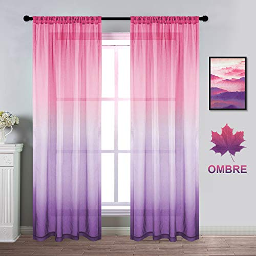Dreaming Casa Ombre Design Sheer Curtains Pink and Purple Sheer Drapes for Bedroom Girls Room Linen Rod Pocket Drapes for Wedding Partyation 2 Panels 52Wx84L