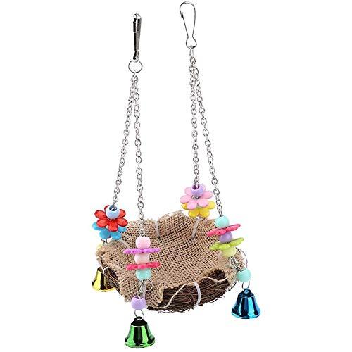 YCX Rattan Vögel Nest Schaukel Spielzeug Papagei Klettern Kauen Spielzeug, Bunte Vögel Käfige Stangen Hängen Papageien Stroh Spielzeug Mit Glocken,Braun