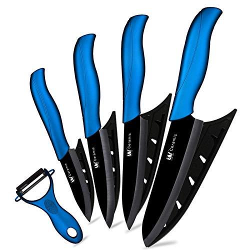 Cuchillos Cuchillo de cerámica 3 4 5 6 pulgadas Cuchillos de cocina Conjunto Peeler Negro Blanco Blade Fruta Chef Cuchillo Vege Cocinero Herramienta Soporte cocina (Color : Blue 5 Pcs Set)