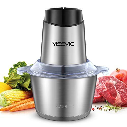 YISSVIC Picadora Eléctrica Picadoras de Carne Minipicadoras de Alimentos 500w y Capacidad 2L con 2 Cabezales y 4 Cuchillas