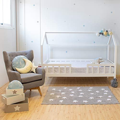 muemue Cama casita con barandilla Montessori Blanca