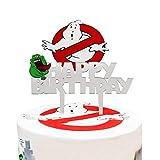 LYNHEVA Acrylic Ghostbusters Happy Birthday Cake Topper, Ghost Busters Cake Topper, Ghostbusters Theme Birthday Party Decoration Supplies