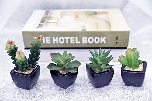 PH Home Piante grasse finte artificiali in vaso in mini vasi quadrati neri per la decorazione del giardino di casa Verde (Vasi in ceramica , 4PCS)