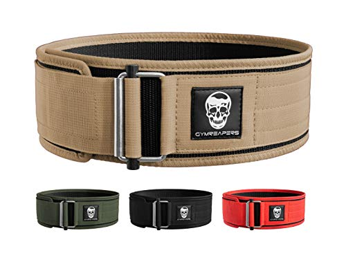 Gymreapers Quick Locking Weightlifting Belt for Bodybuilding, Powerlifting, Cross Training - 4 Inch Neoprene with Metal Buckle - Adjustable Olympic Lifting Back Support (Desert Tan, Medium)