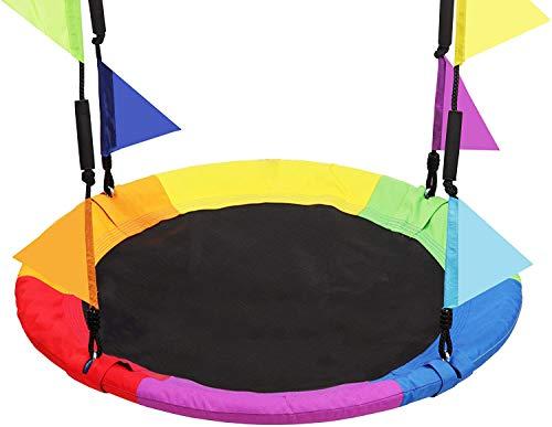 LANGXUN Columpio de árbol con platillo arcoíris de 101,6 cm (40 pulgadas) para niños y adultos, con mosquetones y banderas, capacidad de peso de 317,5 kg (700 lb), estructura de acero