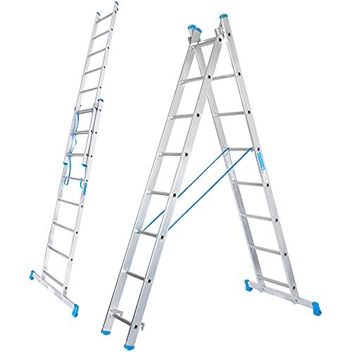 packer PRO Escalera Transformable Plegable Super Resistente hasta 150Kg de Acero y Aluminio con relieves Antideslizantes para Altura de Trabajo hasta 457cm, 2 Tramos 8 y 8 Peldaños