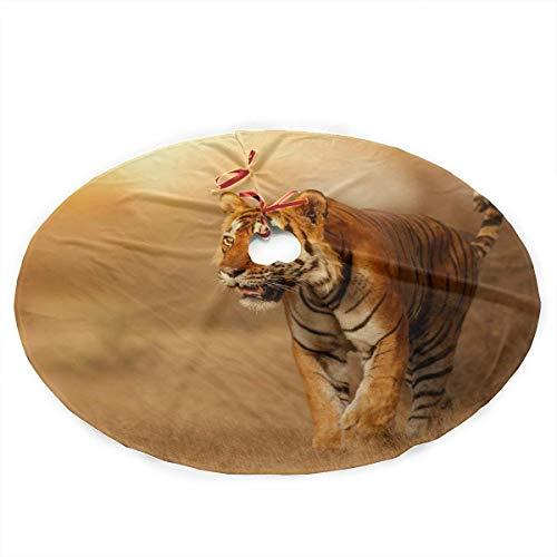 BJJHMY Falda de árbol de Navidad Gran Tigre Hábitat de la Naturaleza Masculina Bandera de Estampado de Tigre Falda de árbol Alfombra de Poliester