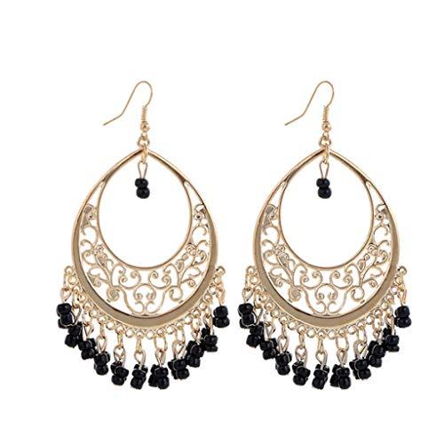 Price comparison product image Bohemia Gold statement earrings vintage Tassel Rhinestone Dangle black earrings jewelry