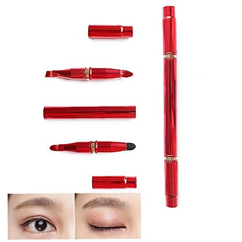 4 in 1 Double Ended Retractable Make-up Pinsel mit Lippenpinsel Lidschattenpinsel Augenbrauen Pinsel Smokey Augen-Bürste - Reise Make-up-Pinsel-Set