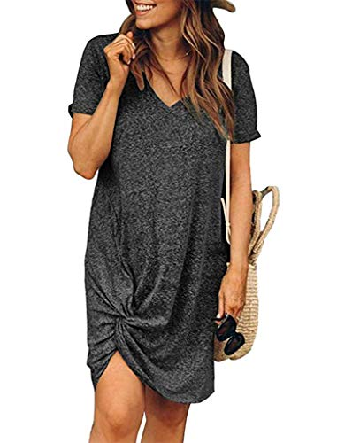 Locryz Short Sleeve Tshirt Dress for Women Sexy Side Knot Mini Dresses S Dark Grey