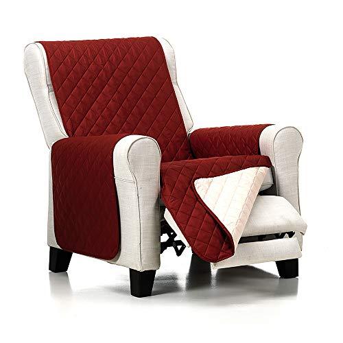 JM Textil Gefütterter Reversibler Sesselschoner Normal/Relax/Ohrensessel Alvin, 1 Sitzer (55 cm), Rot/Beige