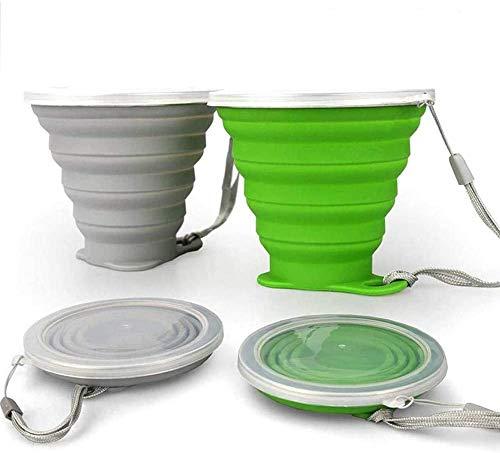 Copas de Silicona ddLUCK Plegable 2-Pack sin BPA, Viajes Plegado, Plegado Tazas de Plástico de Silicona Junta de la Tapa, de Picnic Portátil Reutilizable, Camping, Caminatas al Aire Libre