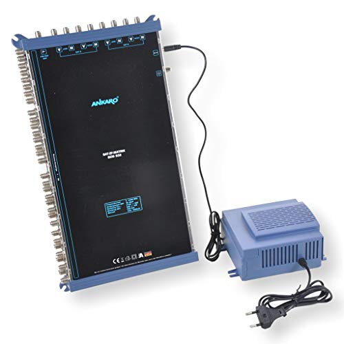 ANKARO Multischalter SEM 9/32 für den Empfang von zwei Satellitenpositionen an bis zu 32 Teilnehmer / 4K, 3D, UHD tauglich/Quattro LNC geeignet