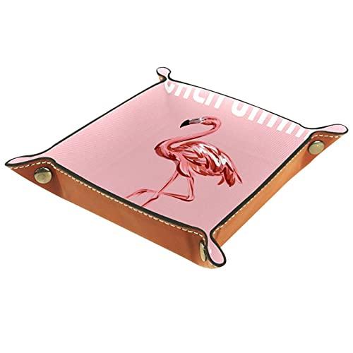 Bandeja de cuero,Flamingo en tabla de surf ,Bandeja de cuero plegable para reloj de joyería de monedas de llave de almacenamiento