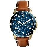 Fossil Men's Grant Sport Quartz Leather Chronograph Watch, Color: Gold, Brown (Model: FS5268)