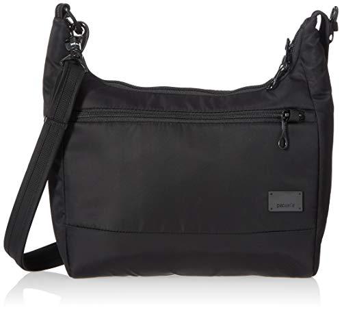 Pacsafe Citysafe CS100 Anti-Diebstahl Nylon Umhängetasche für Damen, Schultertasche mit Diebstahlschutz, Sicherheits-Features - 5L Uni, Black / Schwarz