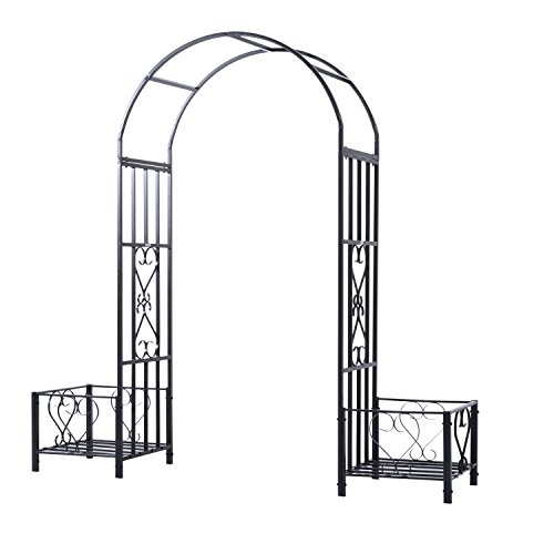 Outsunny Metal Garden Arbor with Planter Boxes Various Climbing Plant Wedding Arch Bridal Party Decoration for Outdoor Lawn
