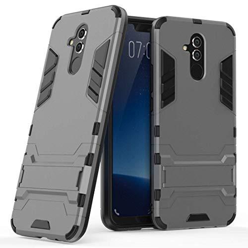 Hoesje voor Huawei Mate 20 Lite (6,3 inch Scherm) 2 in 1 Hybrid Rugged Schokbestendige Back Cover met Kickstand Hoes (Grijs)