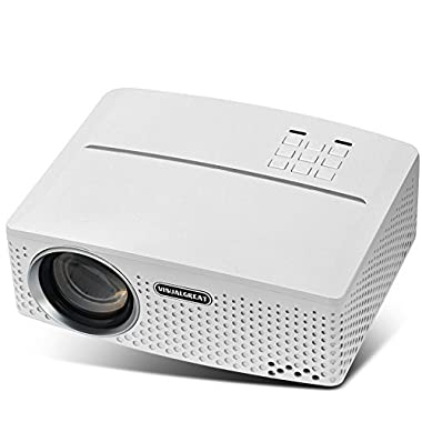 VISUALGREAT GP80 Projector, Portable Size 2018 Top Game Video Entertainment, Led 1800 LMS LED Light Output for Home Theater 1080P Ready via Double USB to Achieve Your Movie at Your Family Party(White)
